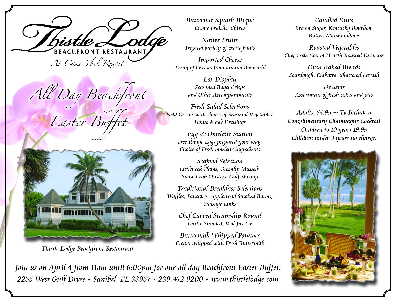 Sanibel island gulf front easter brunch casa ybel resort for Easter brunch restaurant menus
