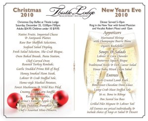 Thistle Lodge Christmas & New Years Menus